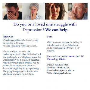 UBC Psychology Clinic Seeking Individuals Who Are Struggling with Depression