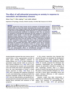 Ali Tracy published a paper in Cognition and Emotion